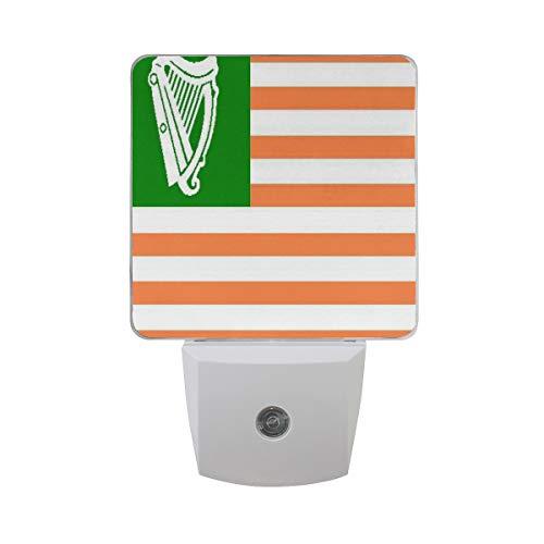 Night Light Gallery Irish American Flag Night Lamp LED Sensor Auto on/Off Led Plug in Wall Lights 2 Pack