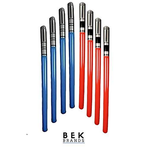 Bek Brands Inflatable Light Saber Sword Toy | Blow Up Battle Lightsaber Swords Action Play (8 pk - Red, -