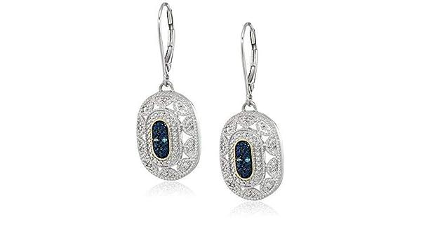 Women/'s Sapphire 14k Yellow Gold 925 Silver Pendant Art Deco Style Drop Necklace