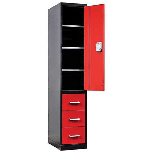Fort Knox Locker Cabinet Single Half Ht Door & 3 Drawers, 24x24x78, Black & Red
