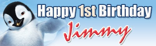Happy Feet Birthday Banner 18 in. x 60 in. - Customize by Demea Printing - Happy Feet 2 Party Supplies