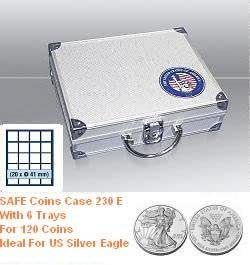 """Safe 230 E Coin Case Compact With """" USA """" 3D Logo And 6 x Trays 6341 for US Silver Eagle"""