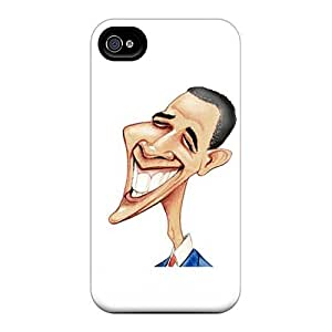 Excellent Iphone 4/4s Case Tpu Cover Back Skin Protector Barack Obama Caricature
