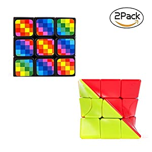 Bfull Cube Set 1 Speed Cube Set, 3x3x3 Magic Cube Set of Torsion Twisted Cube and Colorful Cube Puzzle Toy - Perfect Gifts for Kids and Adults