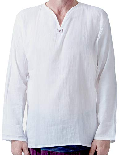 Men Renaissance Medieval White Linen T Shirt V Neck Hippie Pirate Beach Kurta Yoga (Large)