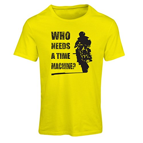 T Shirts for Women My time Machine! Motorcycle Apparel Motorcycle Art Suits (Medium Yellow Multi Color)