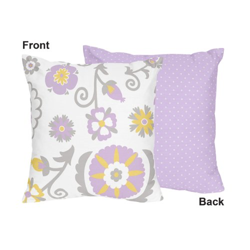 Lavender and White Suzanna Decorative Accent Throw Pillow by