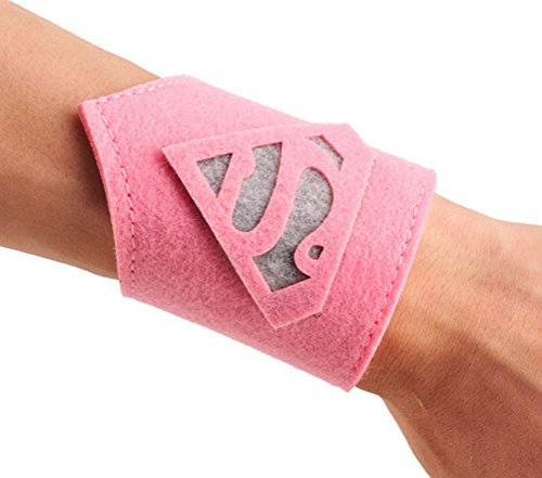 [Rush Dance Superhero Prince Princess Kids Toddlers Birthday Boy Girl WRIST BANDS (Pink Supergirl)] (Supergirl Costumes Pink)
