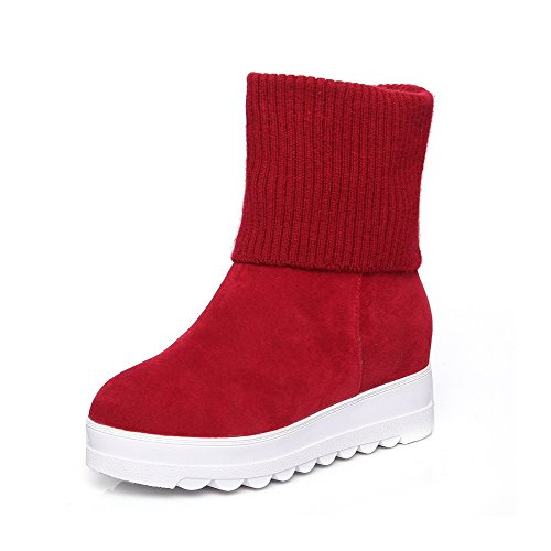 AllhqFashion Womens Round Closed Toe Kitten Heels Frosted Low-top Solid Boots Red Wmgtr308p