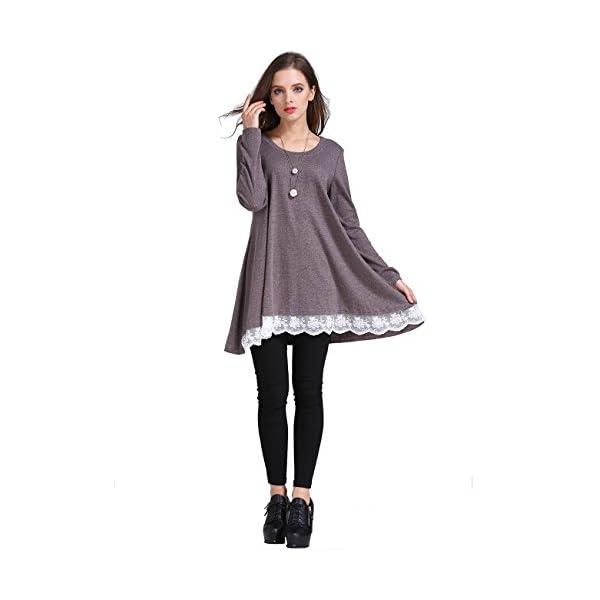 86b8e8fe8ad Sanifer Women Lace Long Sleeve Tunic Top Blouse (Medium, Coffee) -