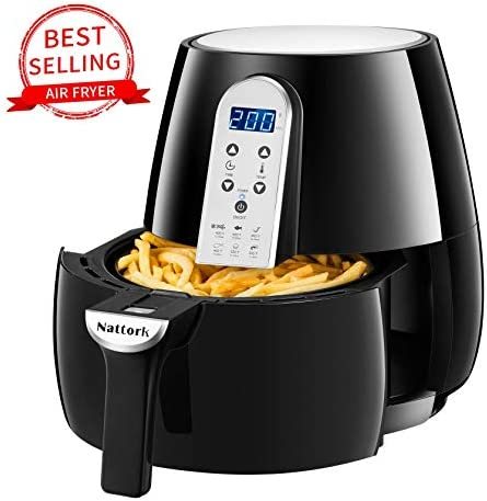 Nattork Air Fryer,4.7 Quart Electric Hot Air Fryers with Recipes, Oven Oilless Cooker with LCD Digital Screen and Easily Detachable Frying Pot,UL Certified,3-Year Warranty,1500W
