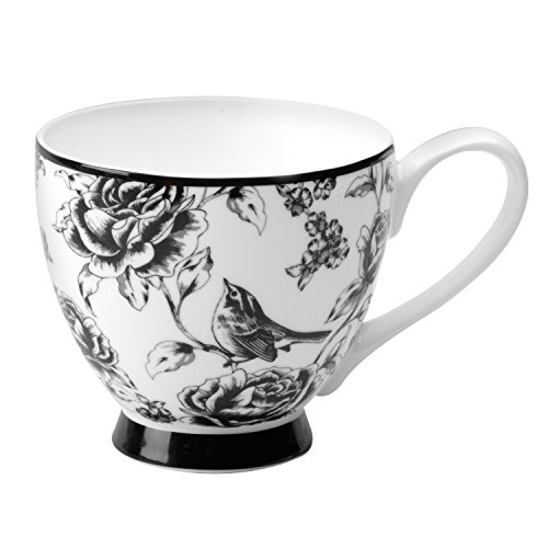 Portobello by Inspire Fine Bone China Amalia Footed Mug, Black/White ()