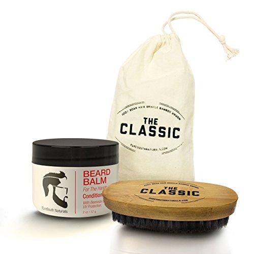 Barbe et moustache Kit pour hommes - All-In-One bambou sanglier soies brosse & Leave-In Conditioner vitamines baume à coiffer cire & huiles pour cheveux sains dans un sac de rangement grande par ma barbe meilleur