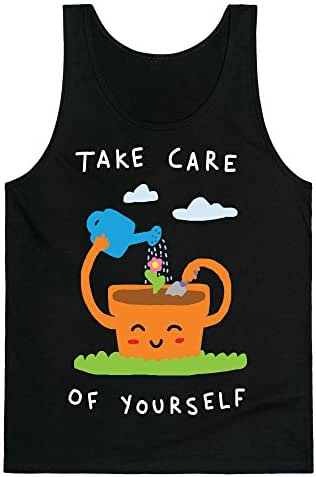 LookHUMAN Take Care of Yourself Mens/Unisex Tank Heathered Gray