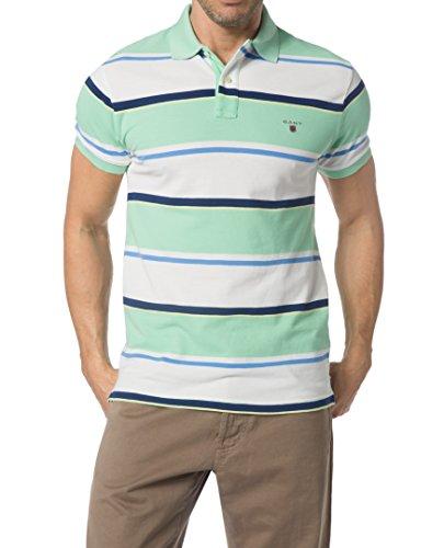 Gant Herren Polo-Shirt Baumwolle T-Shirt Gestreift, Größe: 3XL, Farbe: Grün