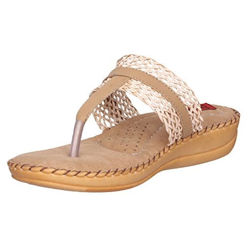41iJ smw0IL. SS500  - 1 Walk Comfortable Synthetic Leather Doctor Sole Women's Flats - Beige