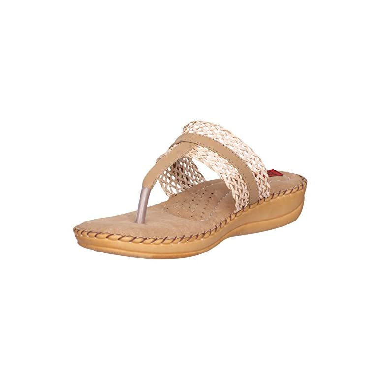41iJ smw0IL. SS768  - 1 Walk Comfortable Synthetic Leather Doctor Sole Women's Flats - Beige