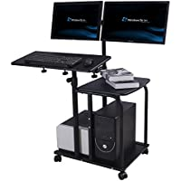 e-joy Mobile Compact Computer Cart Computer Desk PC Laptop Table Allow for 2 Monitors, Black