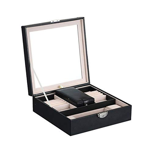 Women's Jewelry Boxes Makeup Organizer Earrings Necklace Case Storage Box with Lock -
