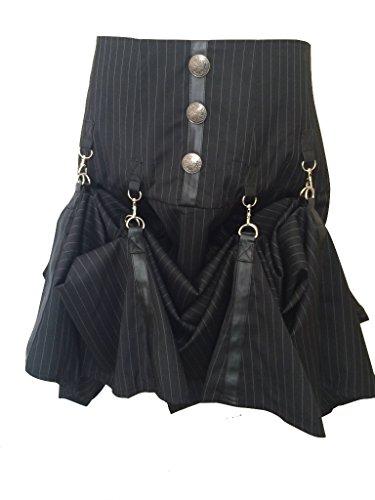 Negro Steampunk gótico pinstripe Gangster Punk pirata largo Cyberpunk contemporáneo falda