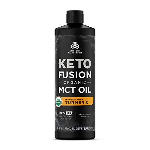 KetoFUSION MCT Oil Turmeric Flavor, MCTs from Coconut, Certified USDA Organic, Organic Turmeric, 16 oz
