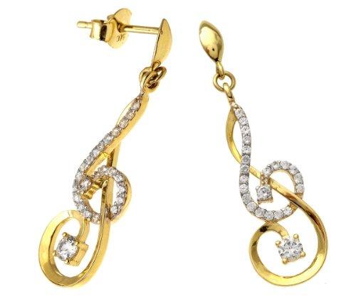 Revoni Bague en or jaune et blanc 9carats-Oxyde de zirconium-Boucles d'Oreilles Pendantes Femme-Note de musique