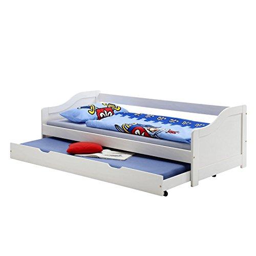 Funktionsbett LISA Funktionsliege Jugendbett mit Bettkasten Kiefer weiß 90 x 200 cm (B x L) 2 Lattenroste