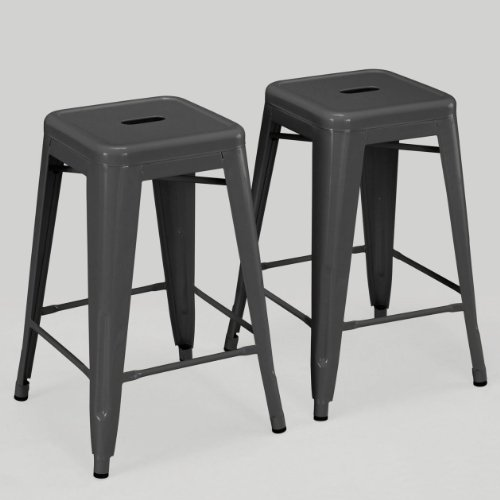 French Style Counter Stool (Set of 2 Charcoal Gray French Bistro Tolix Style Metal Counter Stools in Glossy Powder Coated Includes ModHaus Living (TM) Pen)