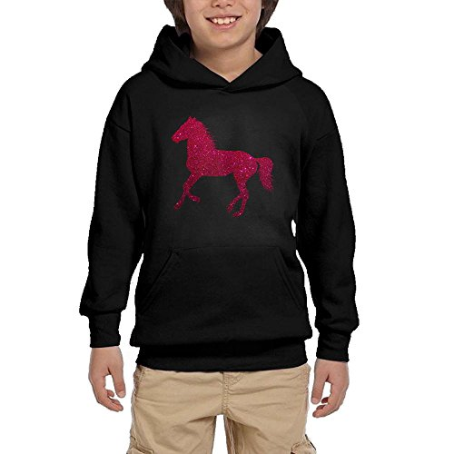 Youth Horse (Youth Black Hoodie Sparkle Horse Hoody Pullover Sweatshirt Pocket Pullover For Girls Boys M)