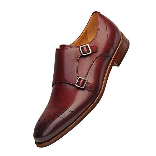 COMOTEK Men's Classic Double Monk Strap Full Grain Leather Shoes,2018 Design-Adroit Burgundy US12