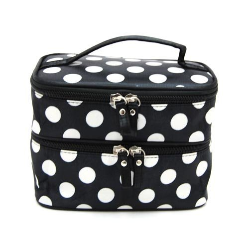 Makeup Mirror Dots (FuzzyGreen Double Layer Cosmetic Bag Black with White Dot Polka Travel Toiletry Cosmetic Makeup Bag Organizer With Mirror)
