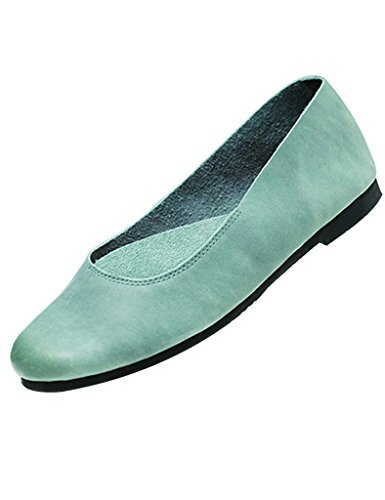 fondo cuero de blando mujeres sin Zapatos cordones para planos Youlee Zapatos Verde con P4wRSxtq