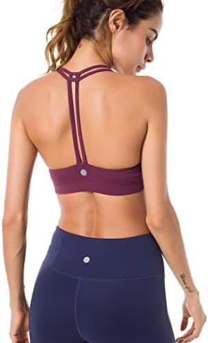 Queenie Ke Women's Light Support Cross Back Wirefree Pad Yoga Sports Bra