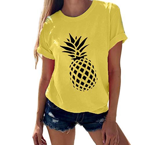 (Womens Simple Fashion O-Neck Pineapple Print Short-Sleeved T-Shirt Yellow)