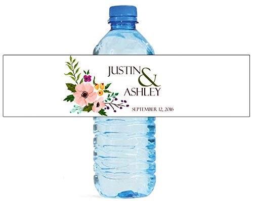 100 Flower Floral Background Wedding Water Bottle Labels Engagement Party (Personalized Water Bottles Labels)