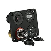 Docooler Car Dual USB Socket + DC Digital Voltmeter Meter + Cigarette Lighter Socket + Rocker Toggle LED Switch Red Light On-Off Control Four Hole Panel for Car Truck Motorcycle Boat for ATV
