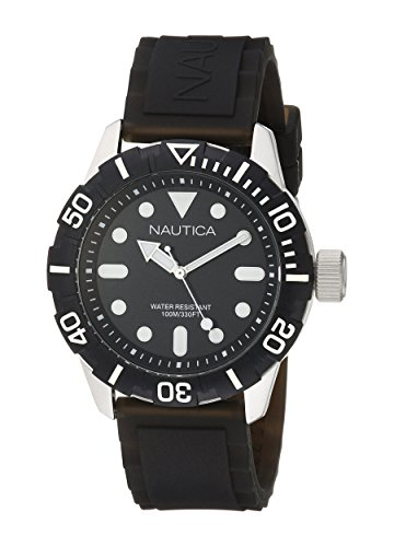 Nautica Men's A09600G NSR 100 Analog Display Analog Quartz Black Watch