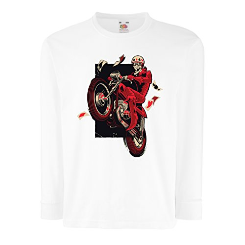 (T-Shirt for Kids Motorcyclist - Motorcycle Clothing, Vintage Designs Retro Clothing (7-8 Years White Multi Color))