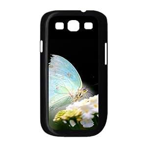 [Butterfly Series] Samsung Galaxy S3 Case Light Blue Butterfly, Case for Samsung Galaxy S 3 Evekiss - Black