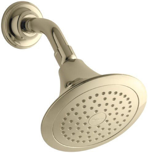 KOHLER 10282-AK-AF Forte 2.5 GPM Single-Function Wall-Mount Showerhead with Katalyst Spray, Vibrant French Gold