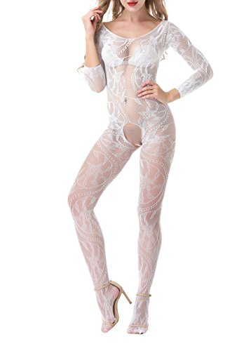 Yuanlar Womens Fishnet Crotchless Bodystocking Long Sleeve Bodysuit Nightwear (White) (Long Sleeves White Fishnet)