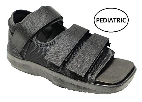 Premium Childrens Post Op Broken Toe/Foot Fracture Square Toe Walking Shoe Cast - Pediatric - Fits Little Kids Sizes 11-1 (Approx 3.5-6 Years Old) (Straps Style May Vary)
