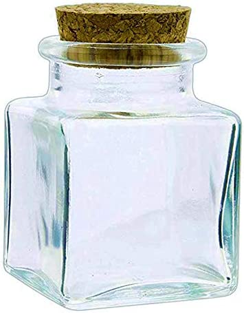 Set of 6 Fashioncraft 2.5 Square Decorative Clear Glass Jars with Corks