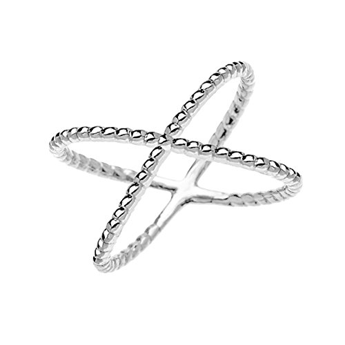 10k White Gold Dainty Criss Cross Rope Design Ring (Size 9)
