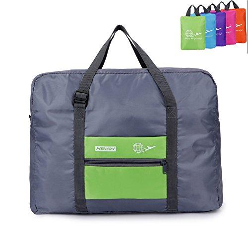 HEXIN Women Foldable Duffel Bag Large Capacity Gym Bag Green