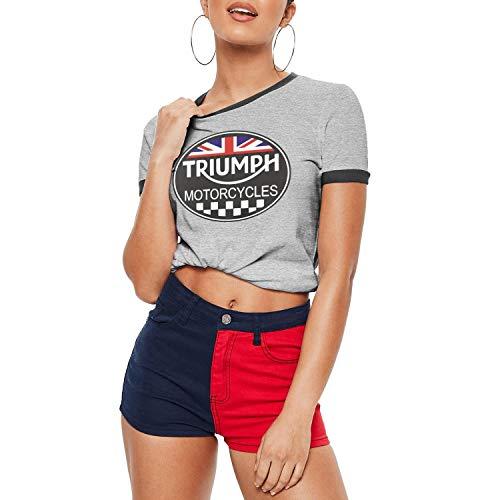 Grey Woman O-Neck Short Sleeve Champion Triumph-Motorcycles-Logo- T-Shirts Tee