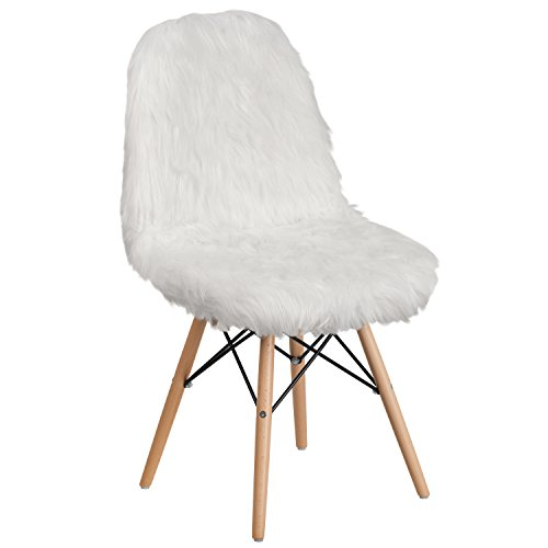 Flash Furniture Shaggy Dog White Accent Chair