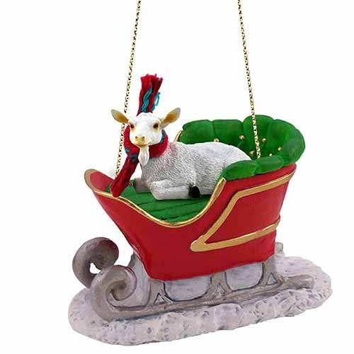 Goat Sleigh Ride Christmas Ornament White - ()
