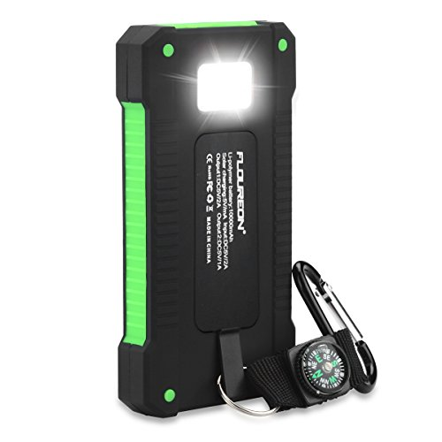floureon 10,000mAh Portable Mobile Phone Charger Power Bank with Auxiliary Solar Charging Dual USB 1.0A/2.1A Max External Battery for iPhone, iPad, Samsung Galaxy and Android Phone Green by floureon