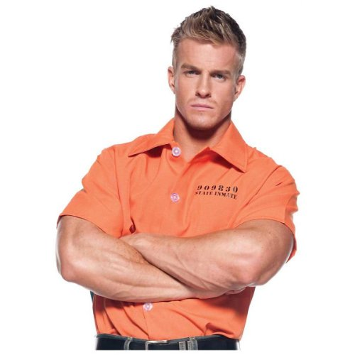 [Underwraps Men's Prisoner Shirt,Orange,One Size] (Prison Halloween Costumes)